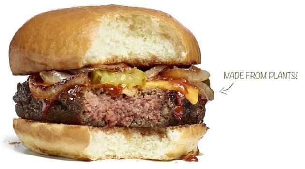Hamburger di finta carne, con soli ingredienti di origine vegetale